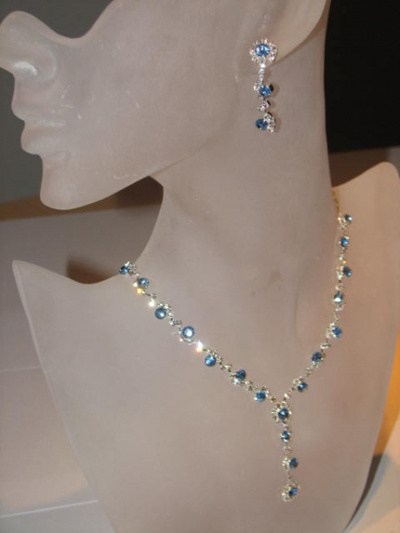 Collier-Set Strass blau