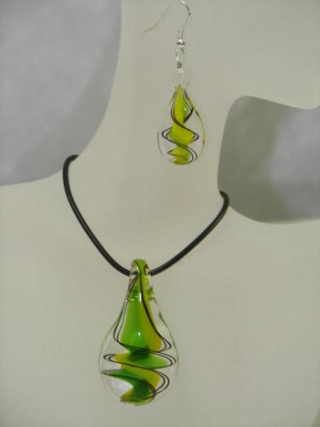 Schmuckset Glas grün